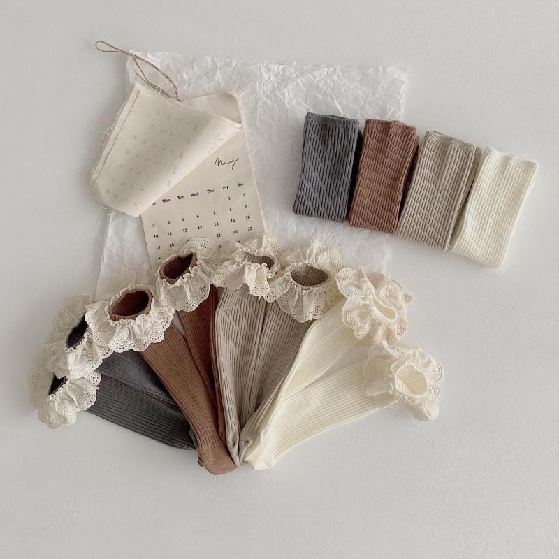 4 Pairs/lot New Baby Girls Socks Long Socks Kids Knee Length Soft Cotton Baby Socks Kids 1-6 Years Knee High Socks 1