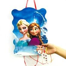 1 pièces reine des neiges Anna et Elsa papier pliant pinata 6 personnes jouer jeu dessin animé thème enfant garçon filles fête d'anniversaire fournitures décoration