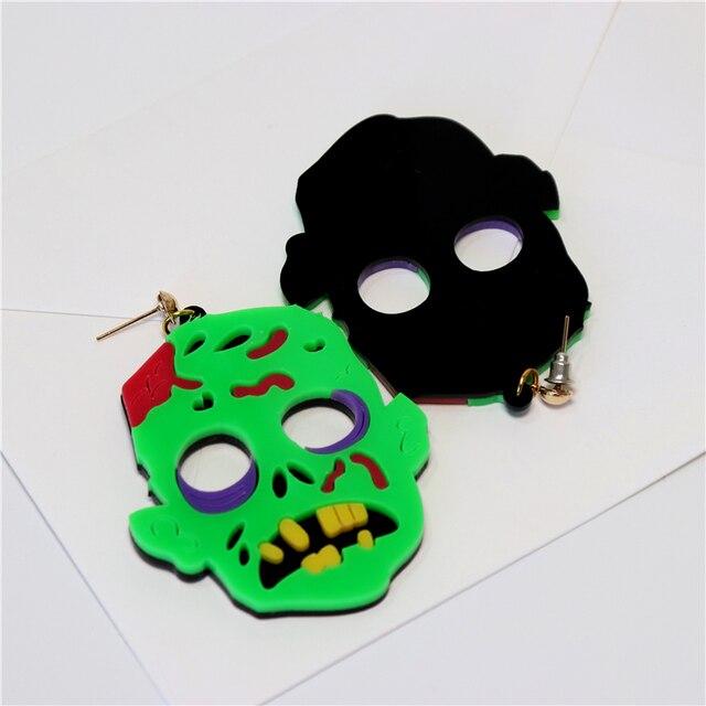 Kuguy-boucles doreilles pour femmes, bijoux verts Zombie, Halloween, fantôme effrayant Dangle, pour filles, 2020