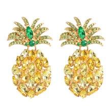 Fruit Pineapple Big Stud Earrings Women Glass Rhinestone Yellow Earring Gold Color Shining Boho Beach Statement Jewelry