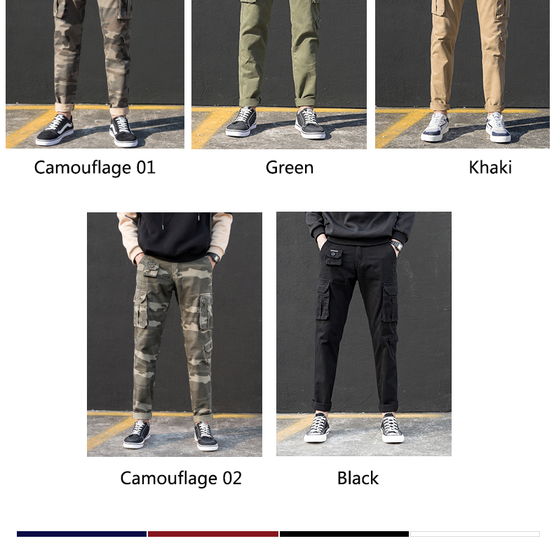 KSTUN Cargo Pants Men Straight Cut 100% Cotton Overalls Casual Pants Men Multi Pockets Camouflage Full Length Trousers Top Quality 12
