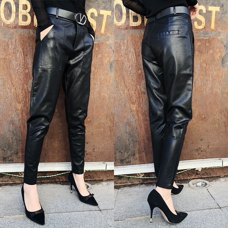 Faux Leather Pants Winter Long Trousers Leather Pants Women High Waist Warm Plus Size With Pockets Pu Pants Winter Warm Black