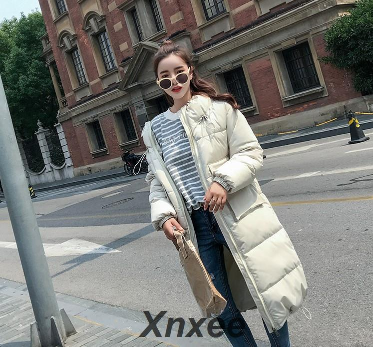 Fashion women 2019 New Arrival Solid Slim Long New Size For Women's Cotton Slim Down   Parka   With Hooded Winter Jacket Xnxee