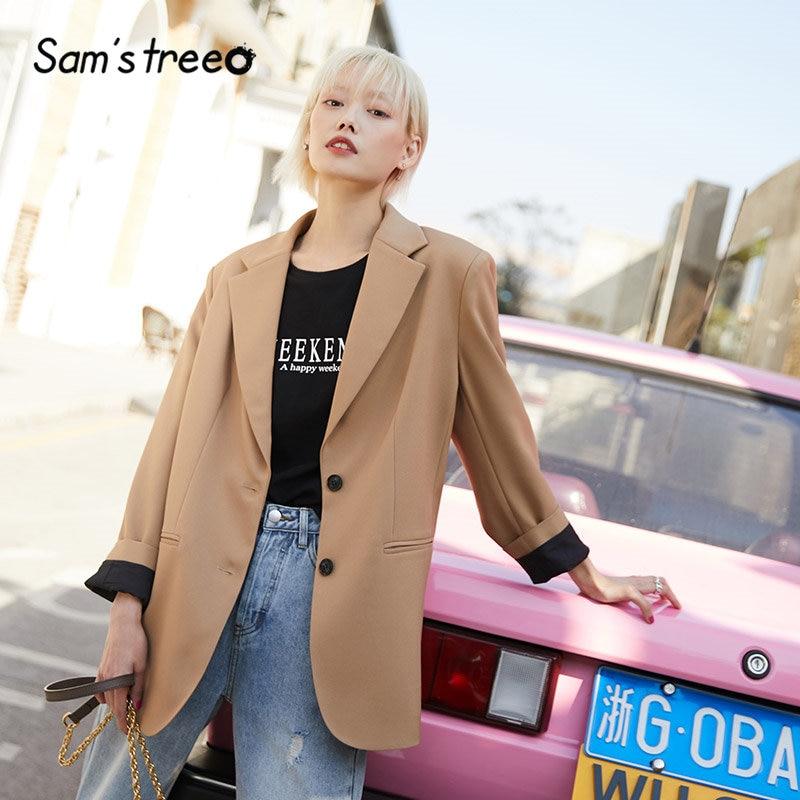 SAM'S TREE Korean Oversize Women Blazer 2020 Spring Pink Plaid British Style Office Ladies Loose Jacket Brown Female Blazers