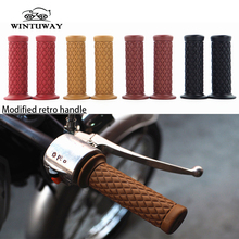 WINTUWAY Motorcycle Universal Vintage Rubber Motorbike Handlebar Thruster Handle Bar End Grips 1 Pair( 2pcs)
