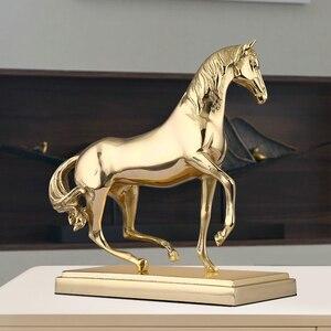 Золотая статуя лошади, латунная статуэтка, медное украшение лошади, украшение для дома, декоративная настольная скульптура, коллекционный ...