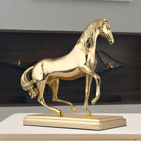 Golden Horse Statue Brass Figurine Copper Horse Decoration Home Deco Ornament Desktop Sculpture Collectable Gold Finish Gift