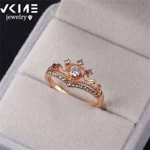 Party gifts's Choice Zircon Crown Ring Alloy Handmade Rings Wholesale Women's Rings(China)