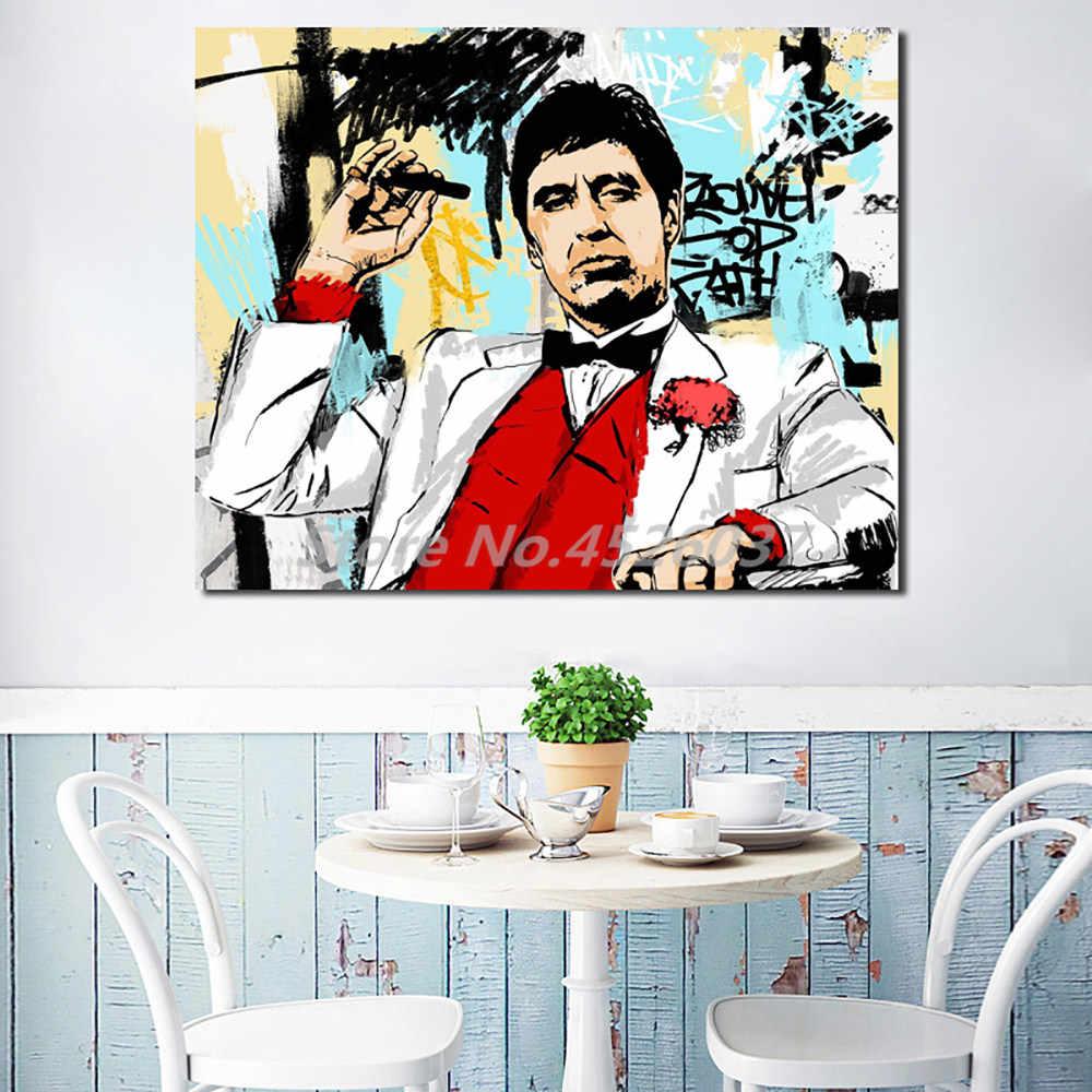 Tony montana quadros em tela imagem modular para sala de estar cartaz na parede para sala de estar decoração casa