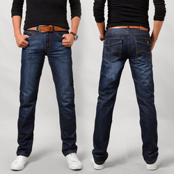 Men's Jeans Long Pants Loose Straight Leg Business Casual popular logo Stretch Men's Pants Spring and Fall New Style