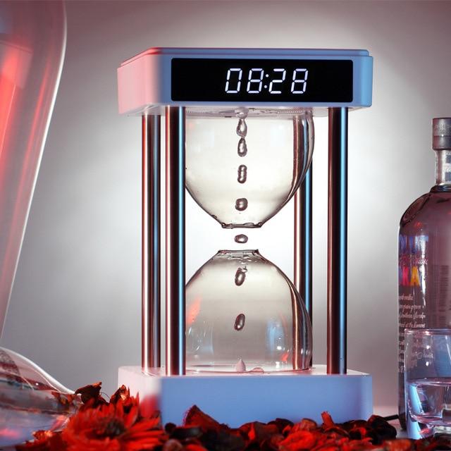 Anti-Gravity Hourglass Night Light Clock Water Drop Backflow Bedroom office decoration Ambience Light Creative Christmas Gift