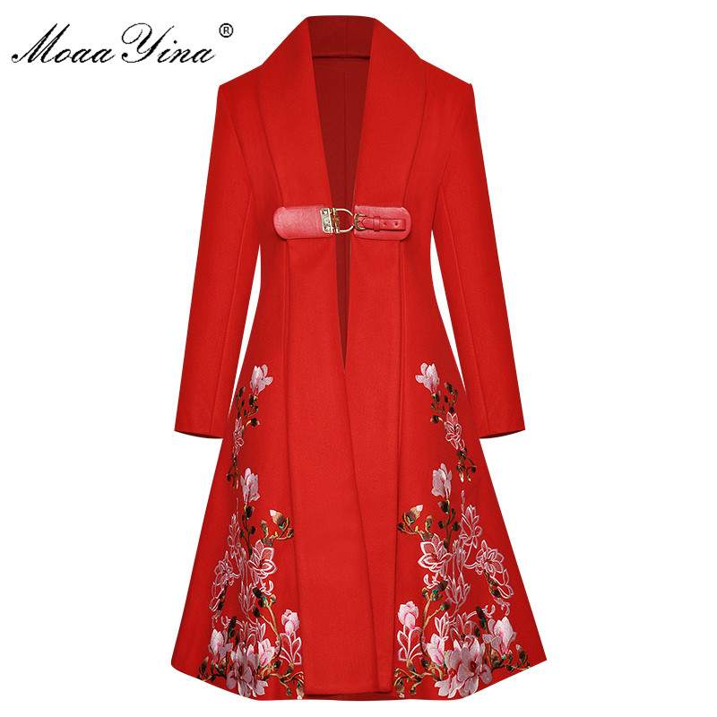 MoaaYina Fashion Designer Windbreaker Long Sleeve V-neck Embroidery Runway Windbreaker Coat