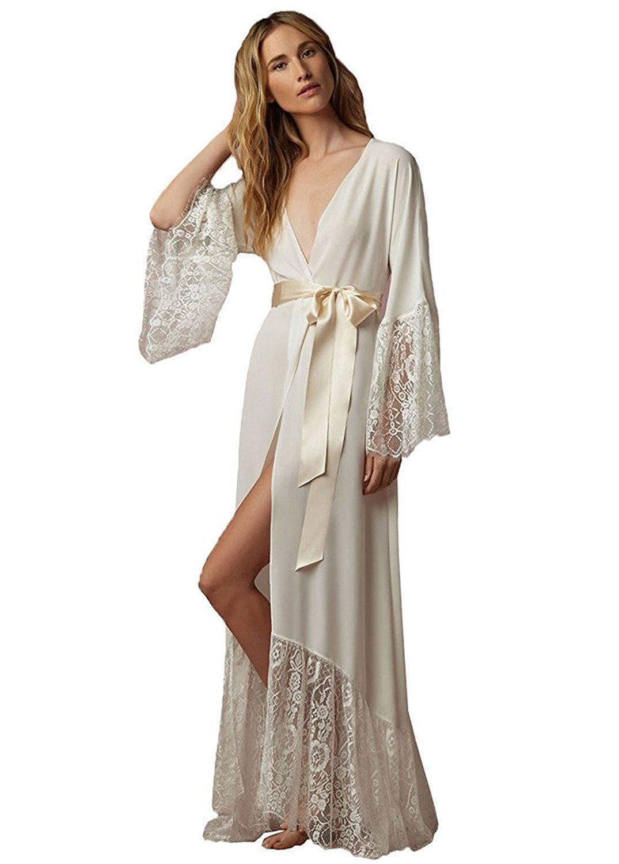 2020 Ladies Lace Edge Bathrobe Bridal Gown Long