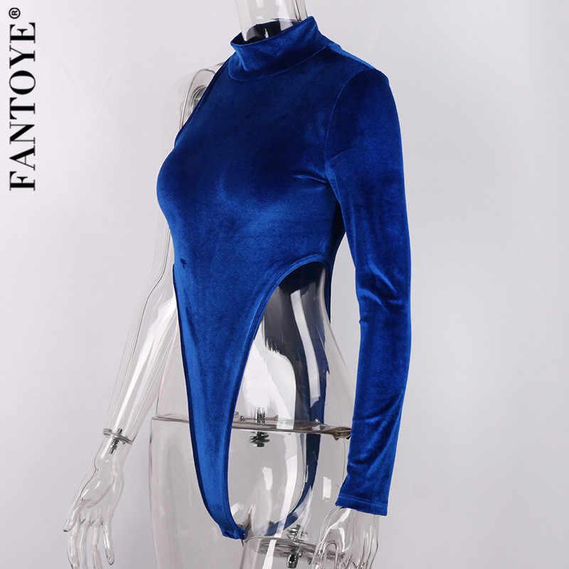 FANTOYE One-Schulter Samt Body Frauen Flanell Rollkragen Skinny Body 2020 Frühling Neue Overalls Für Frauen Spielanzugoverall