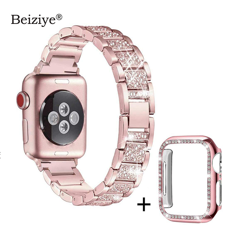 Diamond Strap+Case For Apple Watch 38mm 42mm Metal Rhinestone Replacement Wristband Women For IWatch 40mm 44mm Series 5 4