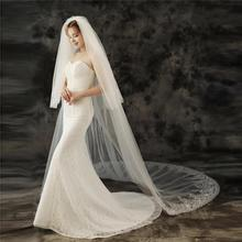 EZKUNTZA 2021 New Bridal Veils Wedding Accessories 3 Meters Two Layer With Hair Comb High-grade Lace Applique Cathedral Veil