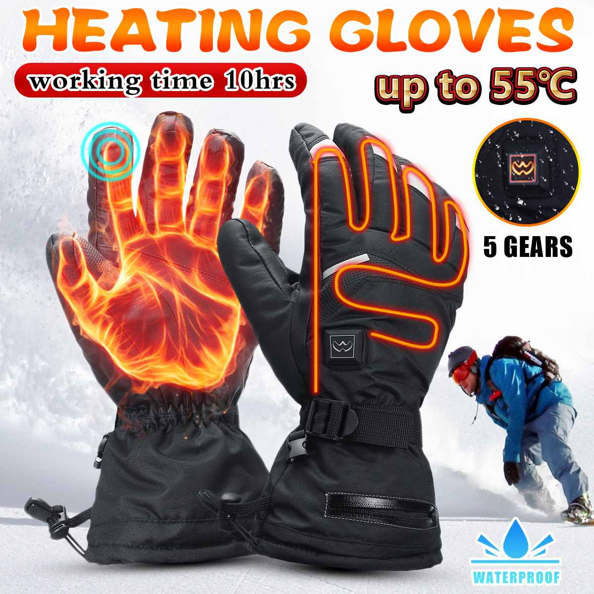 Electric Heated Gloves Waterproof Thermal Winter Hand Warmer Touch Screen 5 Gear Adjustable Temp Motorcycle Ricing Skiing Gloves