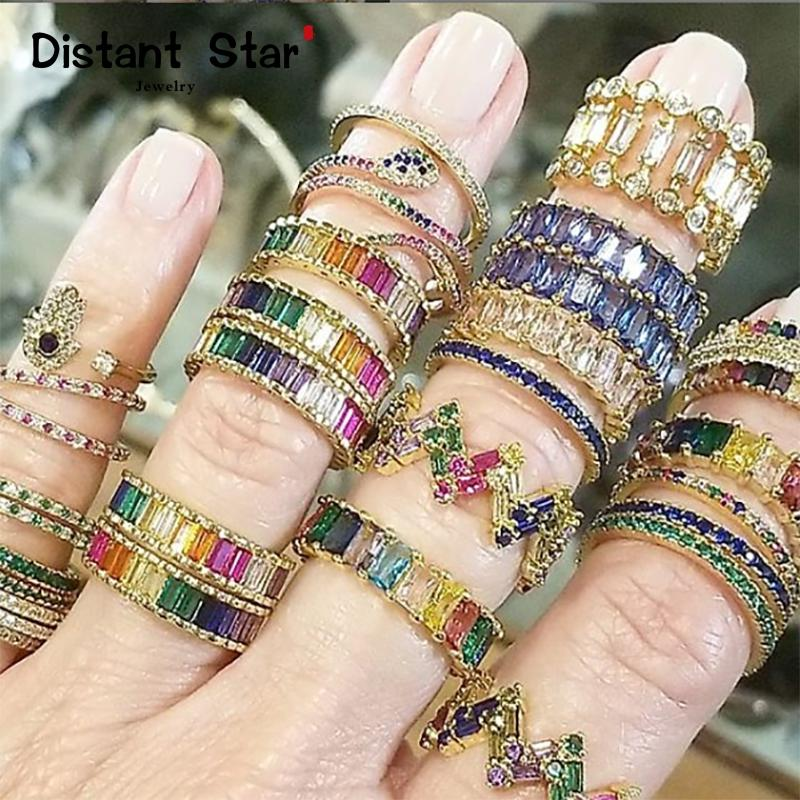 Dropshipping Luxury woman's rainbow crystal ring diy jewelry gold zircon rings initial women for ring ins gift