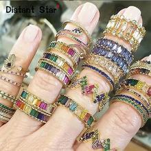 Прямая поставка, роскошное женское Радужное кольцо с кристаллами, ювелирные изделия «сделай сам», кольца с золотым цирконием, инициальные ж...