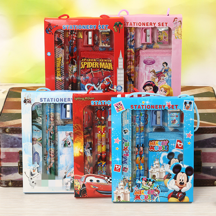 New Arrival Cartoon 6pcs/set Cute Spiderman Micky Mouse HB Wood Pencil With Wallet Kids Birthday Gift School Stationery