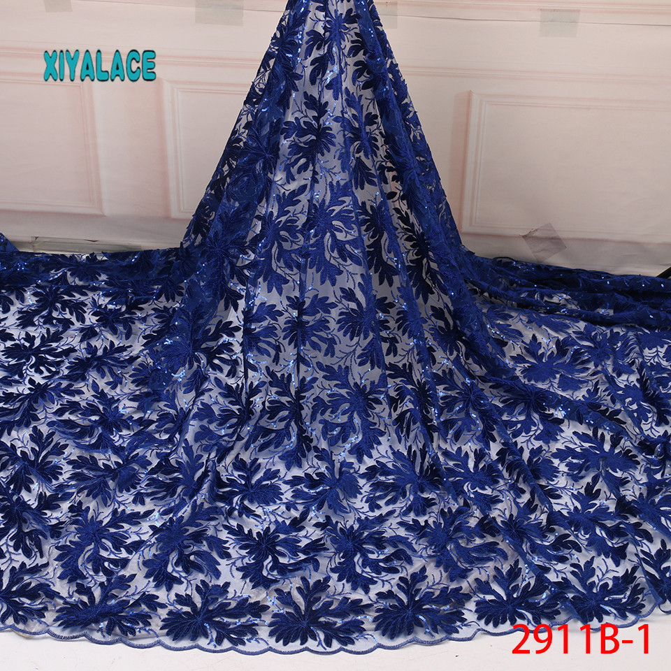 High Quality Tulle Lace Latest African Lace Fabric French 2019 Net Nigerian Fabrics Laces With Beads \Sequins YA2911B-1