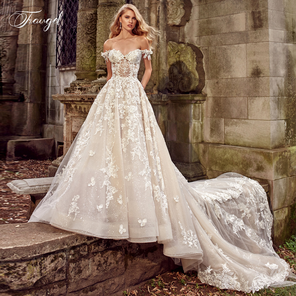 Traugel Sweetheart A Line Lace Wedding Dresses Applique Off Shoulder Backless Bride Dress Cathedral Train Bridal Gown Plus Size