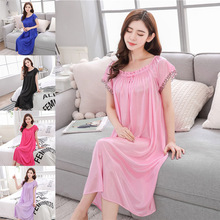 Women's Basic Nightgown Short Sleeves Loose-Fit Lace Sexy Lingerie One-Size