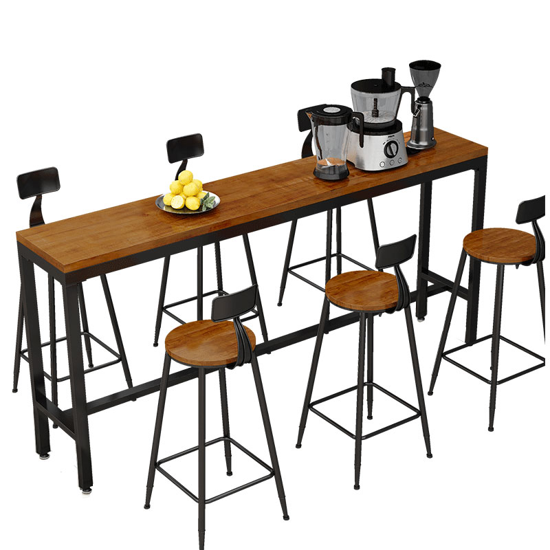 Home Long Table High  And Chair Wrought Iron Club Bar Black Gold Coffee Shop Tea  Solid Wood Wall