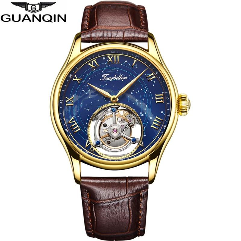 GUANQIN 100% Original Tourbillon Watch Top Brand Luxury Skeleton Waterproof Sapphire  Skeleton Private Custom Relogio Masculino