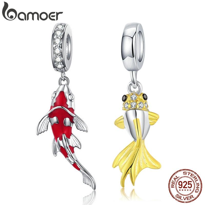 BAMOER Enamel Fish Pendant 925 Sterling Silver DANGLE CHARM Fit Bracelet Necklace Women Fine Jewelry BSC085