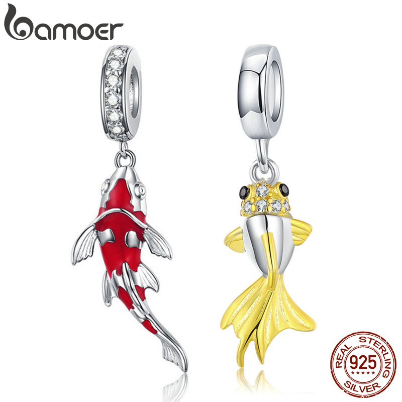 BAMOER Enamel Fish Pendant 925 Sterling Silver DANGLE CHARM Fit Bracelet Necklace Women Fine Jewelry BSC085(China)