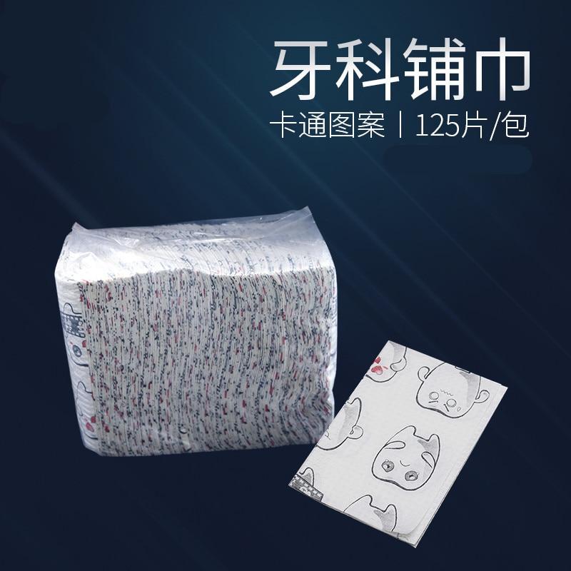 2019 Good Quality 125 Pcs/ Bag Disposable Towel Dental Children Cartoon Pattern Saliva Towel Dental Material