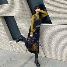 Qweek tie corante impressão deslizamento vestido feminino japonês harajuku francês vintage retro espaguete cinta vestido longo 2021 moda mulher y2k