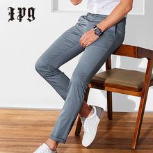 Ipg nova marca calças casuais roupas masculinas à prova dwaterproof água calças moda masculina algodão em linha reta calça multi cor sólida tamanho grande 28-40