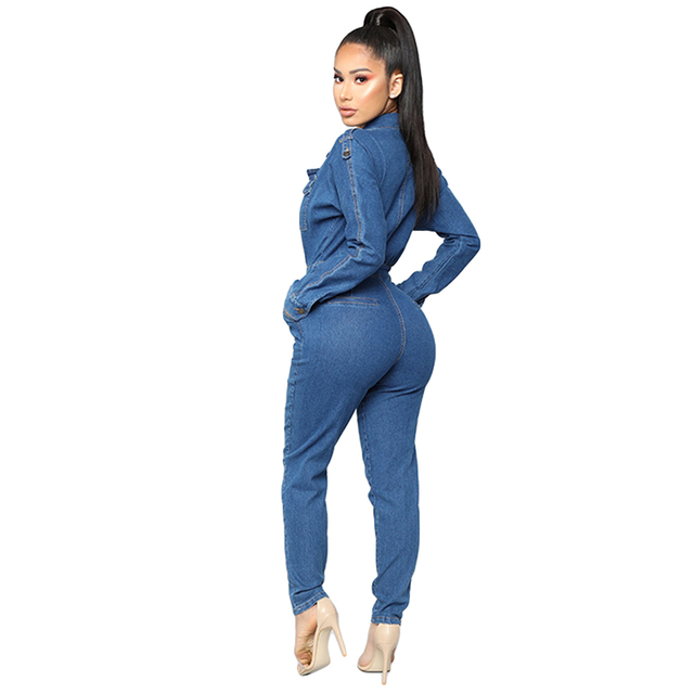 Womens Sexy V-Neck Bodycon Jumpsuit Overalls Club Bodysuit Slim Fit Playsuit Denim Jeans Suit Casual Clothing Trousers Pant New 4