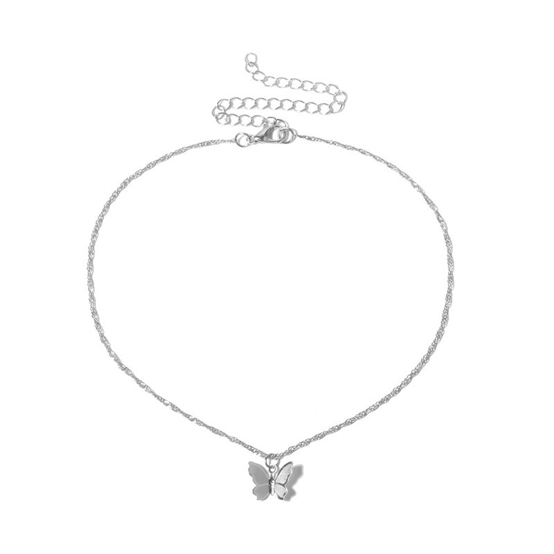 New Fashion Cute Butterfly Choker Necklaces for Women Gold Silver Color Clavicle Chain 2020 Fashion Jewelry Pendant Necklace