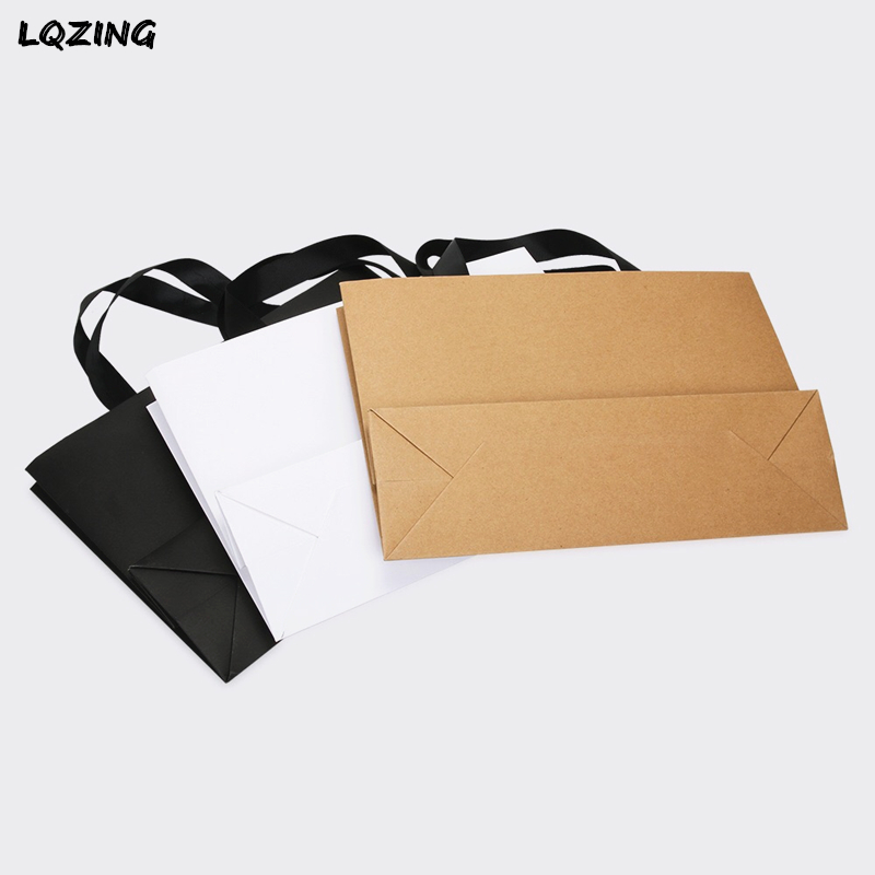 wedding : White Black Kraft Large Gift Bag Recyclable DIY Paper Bags For Clothes Wedding Birthday Party With Handles Celebration Decor