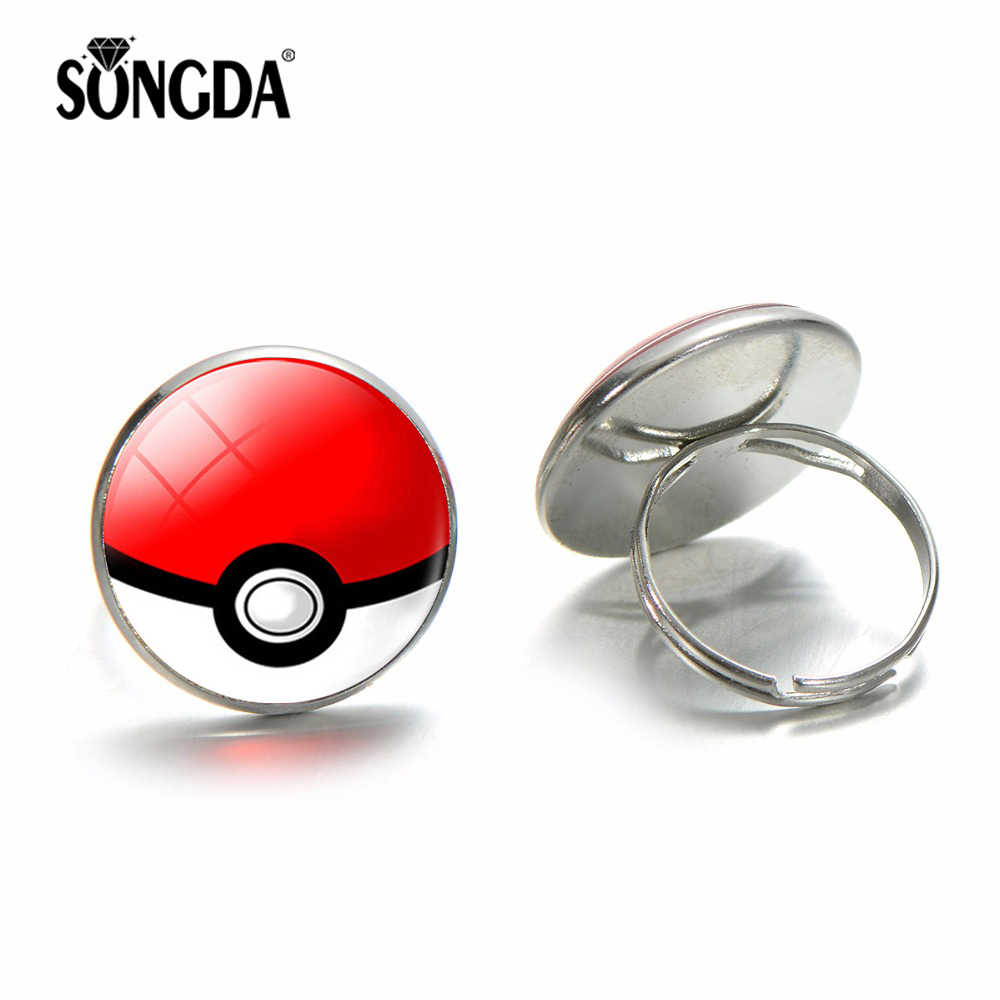 SONGDA Popular Anime Pocket Monsters Ring Japan Pokemon Go Pokeball Glass Dome Ring Kids Cosplay Toys Christmas New Year Gifts
