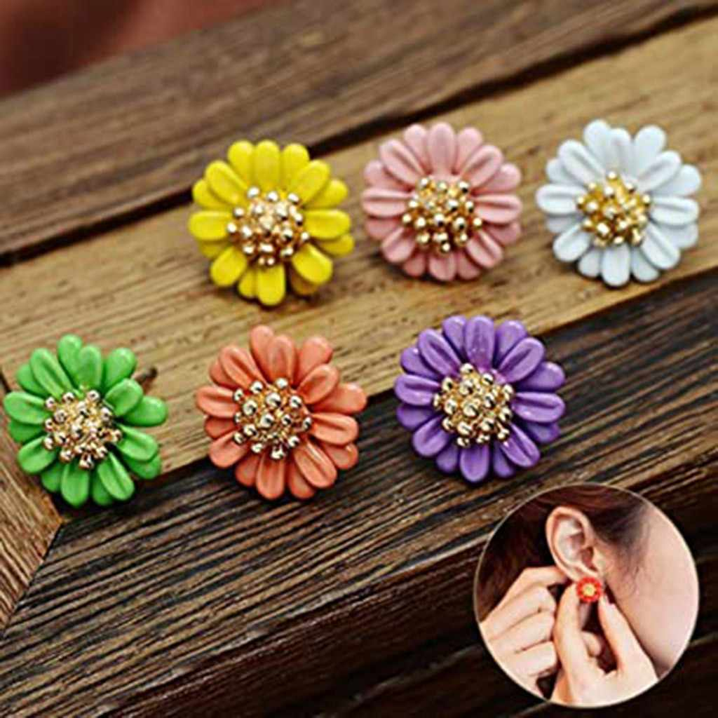 Women's Fashion Flower Pattern Individual Colorful Color Accessories Stud Earrings Korean Accessory Sweet Изысканные серьги