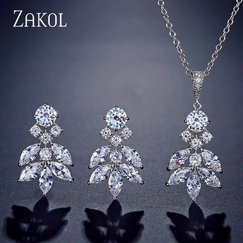 ZAKOL Luxury Cubic Zirconia Leaf Long Earrings Pendant Necklace Set Bridal Jewelry for Women Wedding Anniversary Gift FSSP3032
