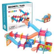 Mini Magnetic Building Blocks 3D Magnetic Tiles Ball Track Building Construction Set Model Building Block Fun Educational Toy