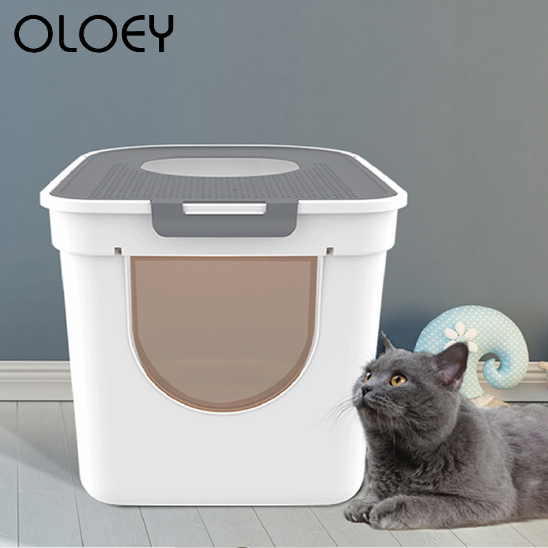 Fully Enclosed Cat Litter Box Anti-splashing Deodorant Cat Feces Clean Oversized Cat Toilet for Kitten Pet Home Cleaning Product(China)