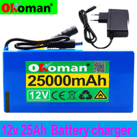 100% 12v 25000mAh lithium-ion Rechargeable battery High Capacity 12.6v 25Ah AC Power Charger With charging indicator + charger