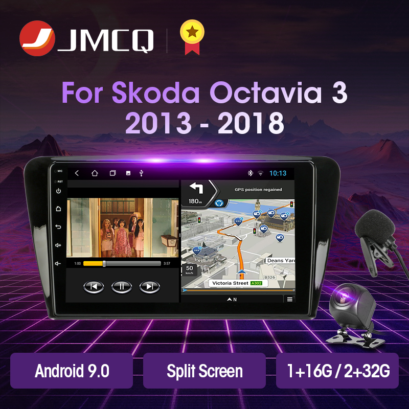 JMCQ Android 9.0 T3L PLUS For Skoda Octavia 3 A7 2013-2018 Car Radio Multimidia Video Player Navigation GPS 2GB+32GB DSP No 2din image