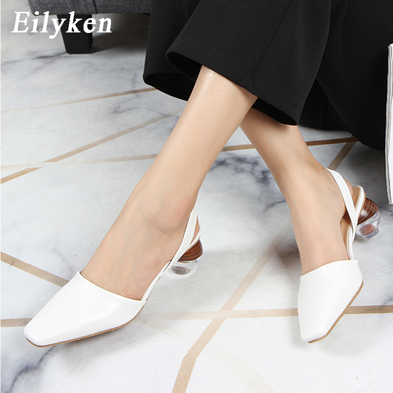 Eilyken Transparent Crystal Round Ball Heels Women Fashion Flock Square Toe Ankle Strap Pumps Sexy Sandals Ladies Dress Shoes