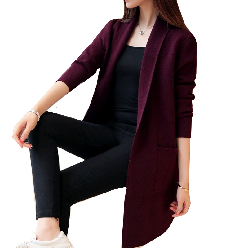 2019 Autumn Winter Long Cardigan Female Casual Women Pocket Cardigan Sweater Knitted Cardigans All-match For Women Jacket Tops