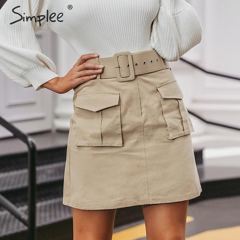 Simplee Sash Belt Cotton Women Short Mini Skirt Fashion Autumn Female Pockets A-line Skirt High Waist Ladies Party Wear Skirt