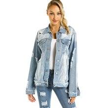 LIBERJOG mujeres Denim abrigo suelto agujeros azul mujer Vintage Casual chaqueta una sola botonadura señora Outwear primavera moda Otoño