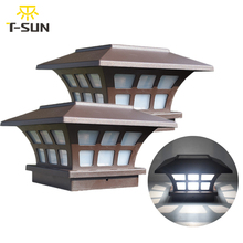 Lámpara Solar para valla de T SUNRISE, luz Solar para exteriores IP65, para camino de jardín, luz de Decoración de paisaje cuadrada