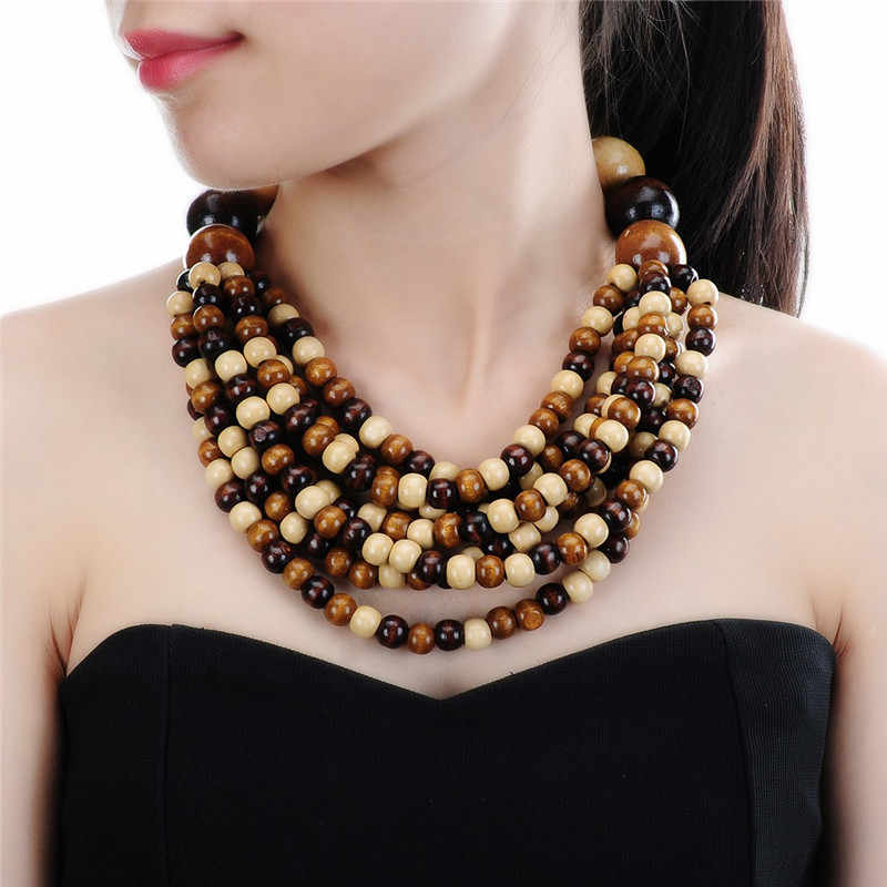 6 Colors Collar Creative Chain Style Bib Pendant Necklace Wooden Necklaces Colorful Jewelry Multilayer Necklace Wooden Bead